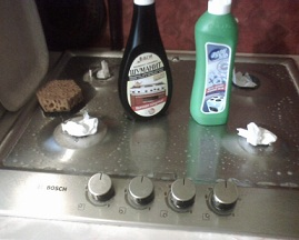 чистка плиты после снятия конфорок
