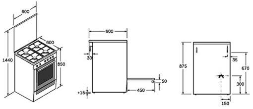 стандартные размеры газовых плит