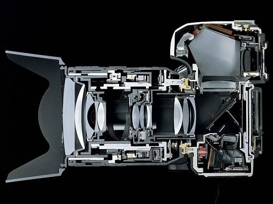 зеркальный фотоаппарат в разрезе
