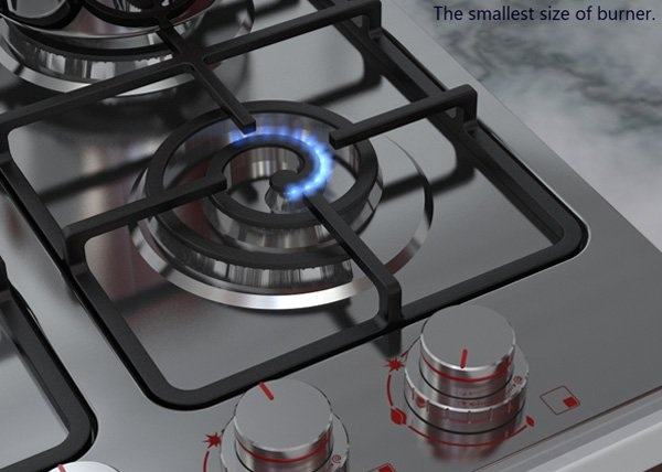 необычная газовая плита с регулировкой площади конфорок