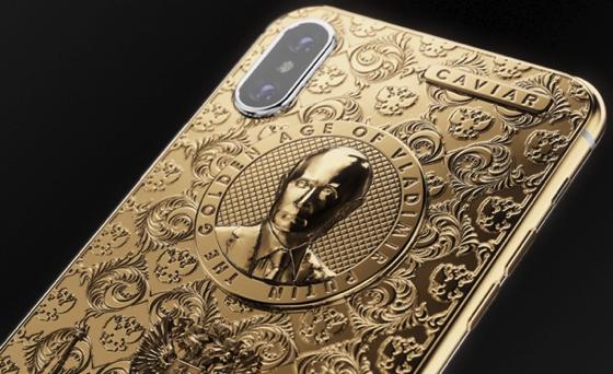 золотой iphone x с портретом путина
