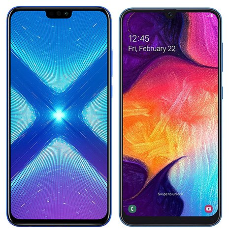 samsung galaxy a50 vs honor 8x