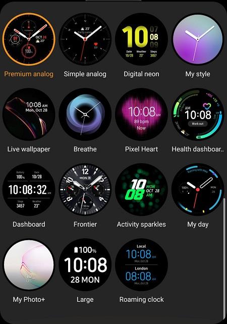 циферблат Samsung Galaxy Watch Active 2